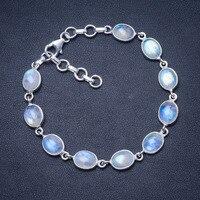 Natural Rainbow Moonstone 925 Sterling Silver Bracelet 7 1/4 8 1/4 Q2820