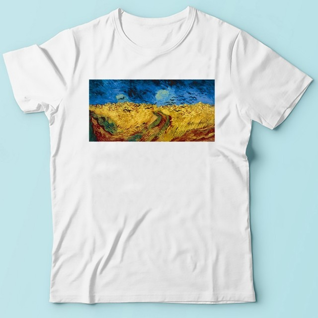 Vincent van Gogh Wheat Field with Crows artist t shirt men jollypeach brand new white short sleeve casual homme cool tshirt