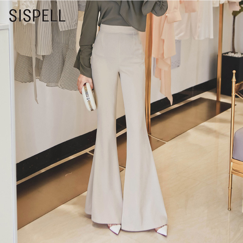 SISPELL 2018 Female Flare Pants High Waist Solid Colour Zipper Trousers For Women Slim OL Style Elegent Clothes Fashion New Tide