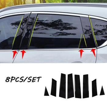 цена на 8pcs Mirror Window Pillar Posts Trim For Nissan Qashqai 201 jfs Middle BC column Car Sticker For NISSAN QASHQAI 2016-2018