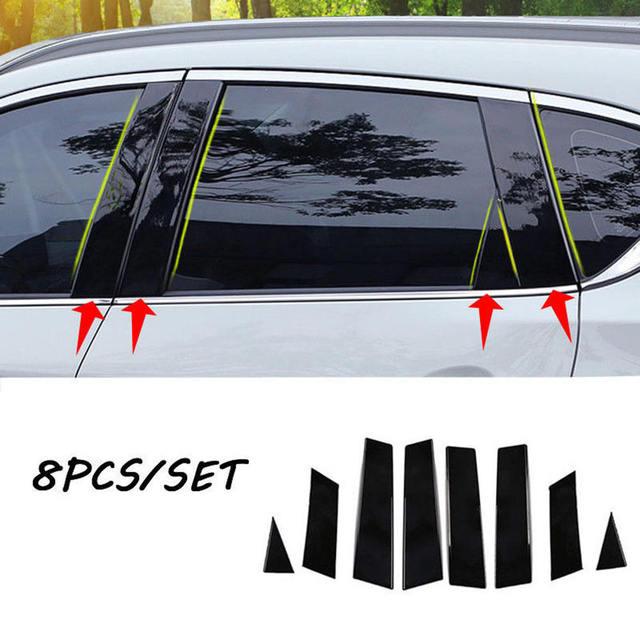 8pcs Mirror Window Pillar Posts Trim For Nissan Qashqai 201 jfs Middle BC column Car Sticker For NISSAN QASHQAI 2016 2018