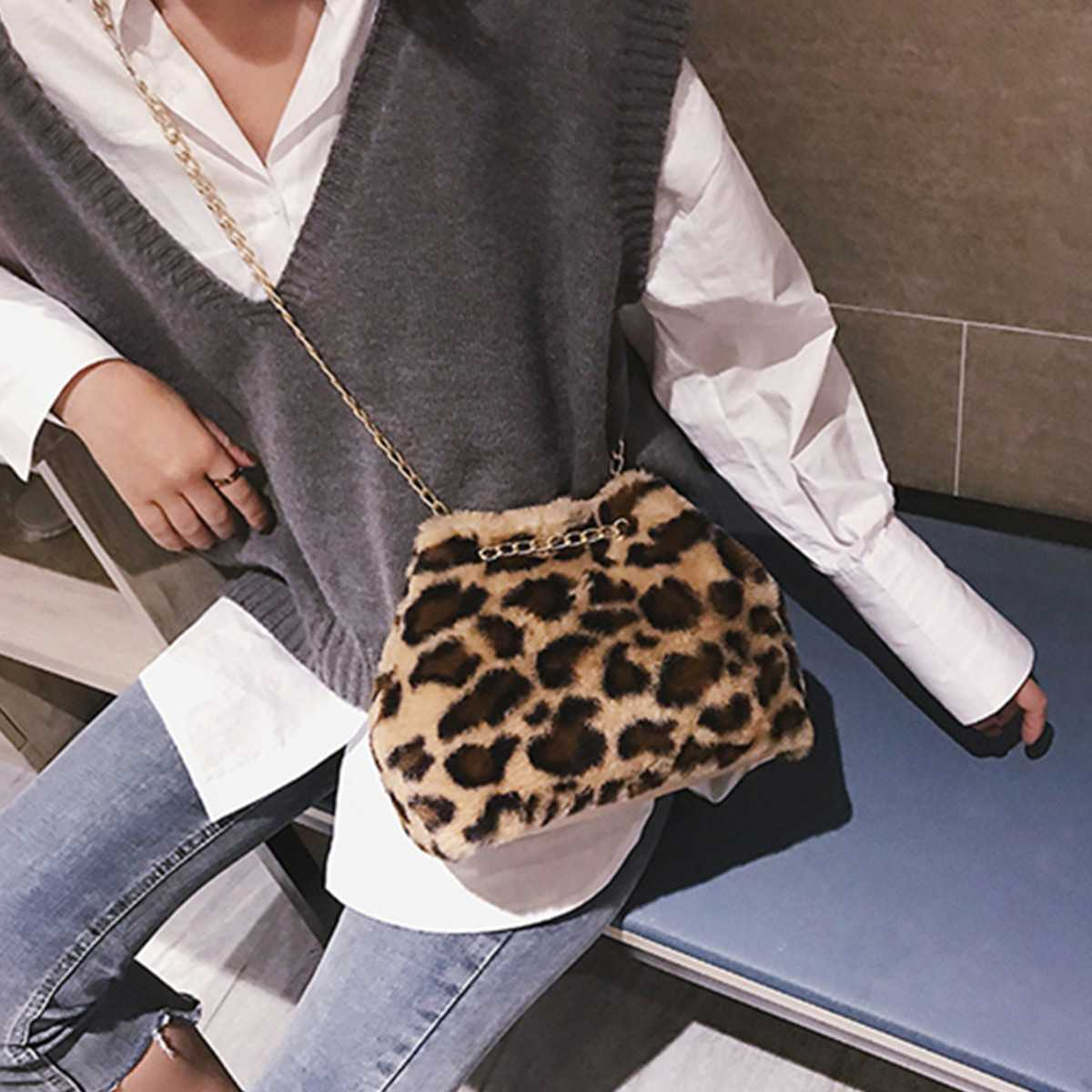 Osmond Feminine Bolsa Women Handbag Plush Chain Bag Fashion Faux Fur Messenger Bag Female Shoulder Crossbody Bag Ladies Tote 3