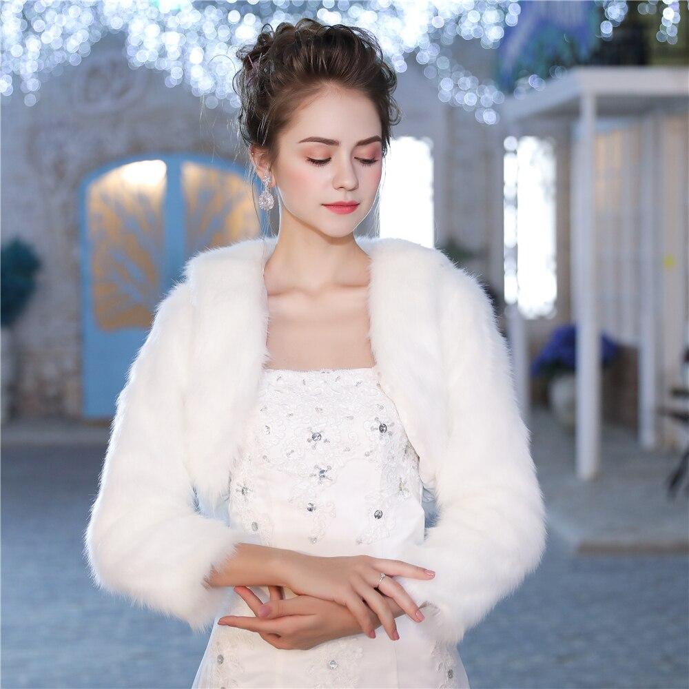 Women Faux Fur Bolero Jacket 3/4 Length Sleeve White Coat For Wedding Bridal Bridesmaids Winter Warm Cover Up Wrap