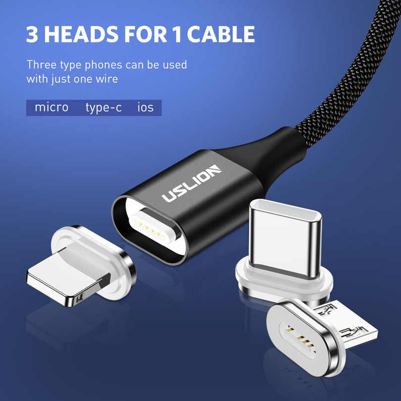 USLION كابل USB مغناطيسي المصغّر usb نوع C كابل ل فون سامسونج S10 زائد 3A سريع شحن المغناطيس شاحن الهاتف المحمول الكابلات