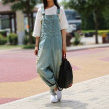 Women Ripped Jean Jumpsuit Casual Denim Jumpsuit Hole Loose Boyfriend Wide Leg Overalls Rompers Harem Pants rolling hem ripped design denim suspender jumpsuit