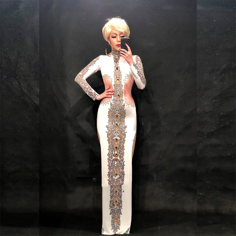 New Women Nightclub Party Banquet Clothing Sexy White Long Big Yellow Glass Sparkling Crystals Stage Wear Singer Costume Dress