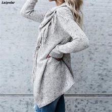 spring autumn knitted long irregular cardigan