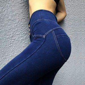Image 3 - MIND FEET Women Jeans Stretch Knit Denim Pants Sexy Slim Push Up Hips High Waist Skinny Pencil Trousers Casual Female Trousers