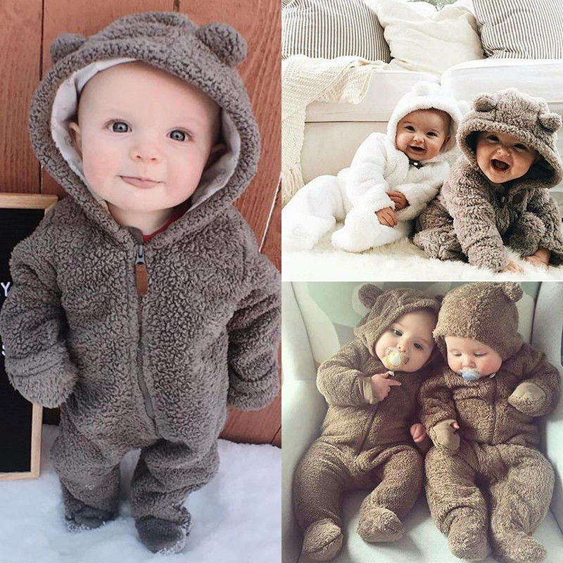 1736ca4d8165 Pudcoco Cute Hot Style Newborn Baby Girl Boy Fuzzy Clothes Hooded Footies  Jumpsuit 0-24M