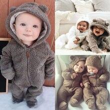 Pudcoco/Милая стильная пушистая Одежда для новорожденных девочек и мальчиков; комбинезон с капюшоном; 0-24 месяца