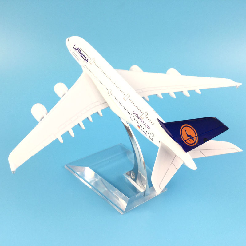 16cm Plane Airplane Model Lufthansa Airbus 380 Aircraft Model Diecast Metal Plane Airplanes Model 1:400 Plane Toy Gift