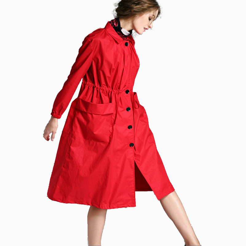 England Style Tie Long   Trench   Coats Women New Casual Loose Slim Pockets Coat Female Classic   Trench   Coat Plus Size Long Coat