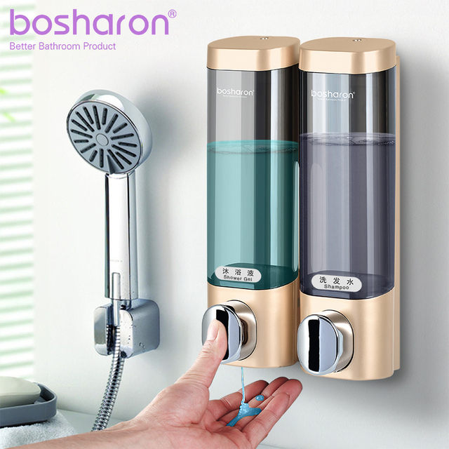 $ US $10.68 Liquid Soap Dispenser Wall Mount 300ml Bathroom Accessories Plastic Detergent Shampoo Dispensers Double Hand Kitchen Soap Bottle