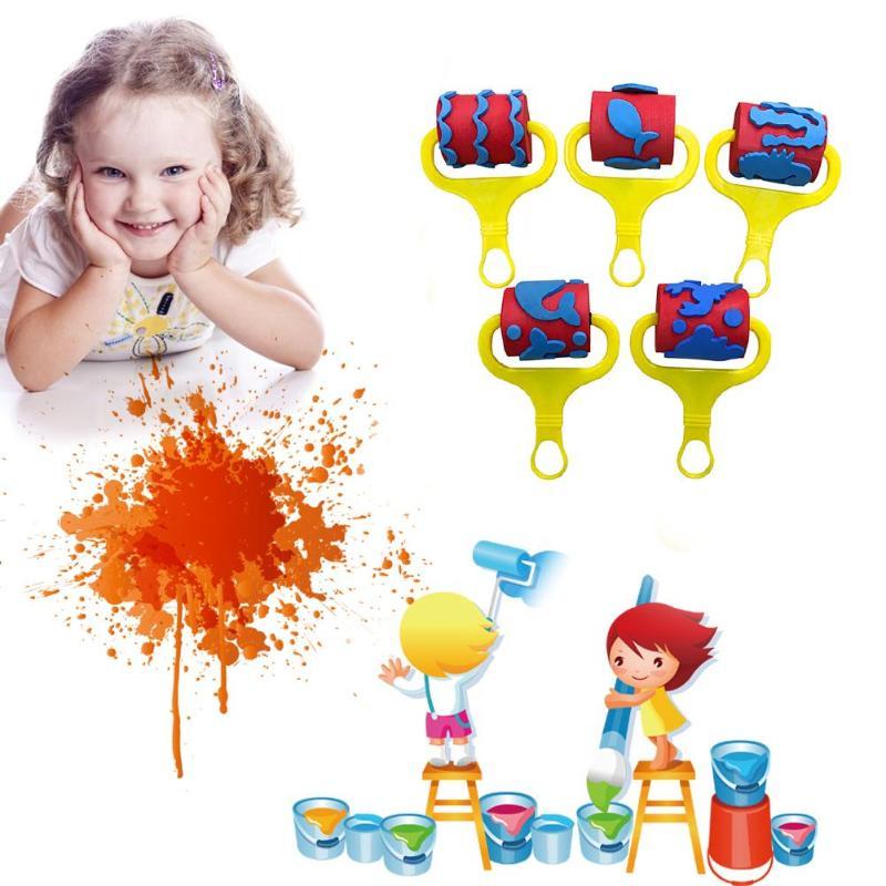 5 Stks/set Diy Graffiti Schilderij Borstels Plastic Handvat Eva Spons Kleuterschool Vroege Educatief Speelgoed Voor Kinderen Tekening Speelgoed Statio Voor Snelle Verzending