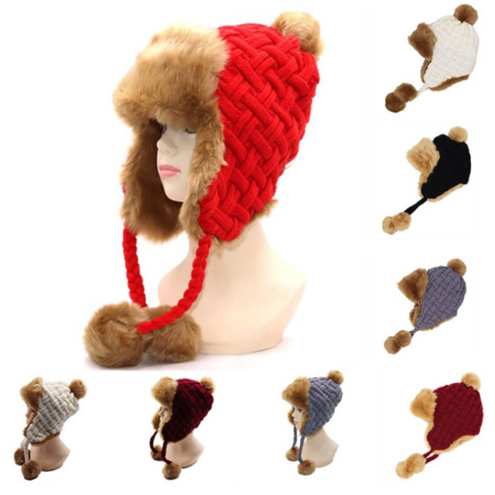 Women Winter Trapper Hats Faux Fur Beanies Wool Knit Pom Pom Russian Ushanka Earflaps Aviator Caps