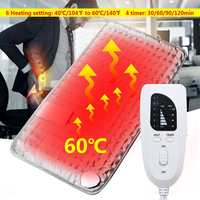 US/UK Plug 6 Heating Setting Electric Thermal Therapy Heated Pad Neck Back Pain Body Relief Soft Fabric Grey Timer 75W Safe Cosy