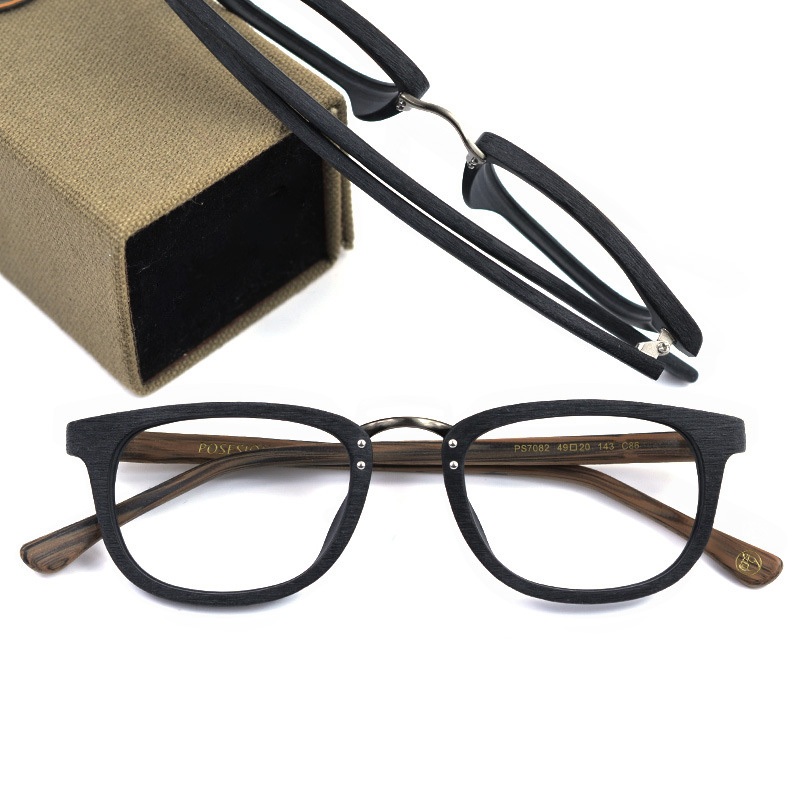 Handmade Eyewear Frames Optical. Glass Women Men Fashion Wood Grain Acetate Eyeglasses Square Full rim Glasses Frames Spectacles