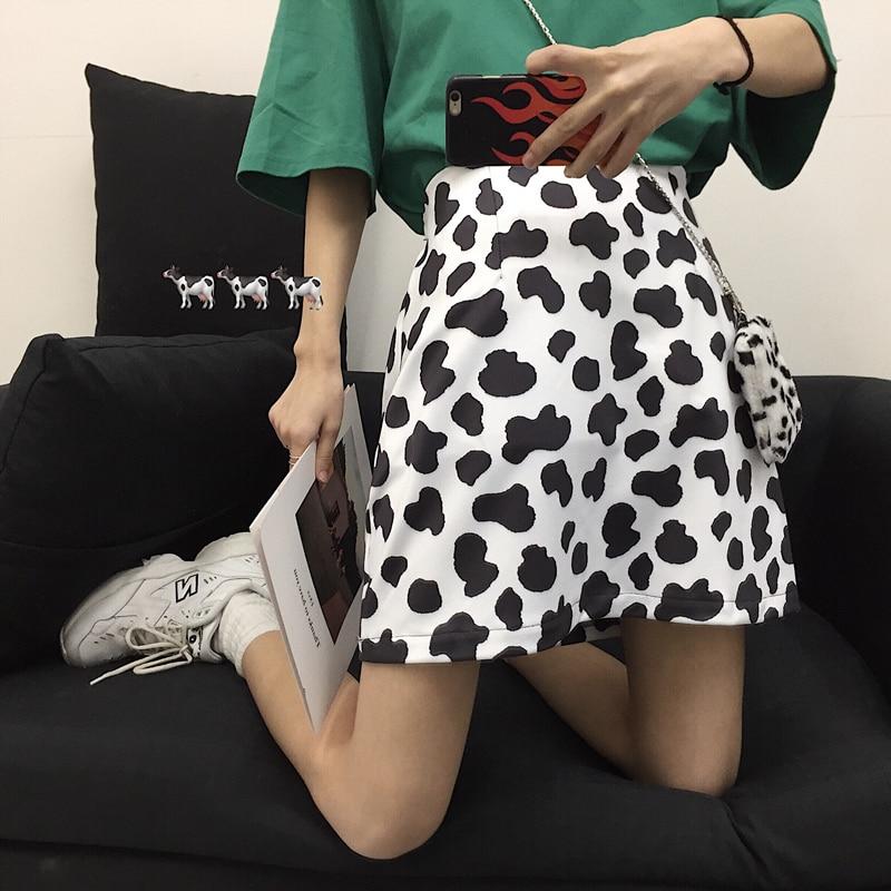 Gagarich 2020 New Women Korean Version Harajuku Dairy Cow Spotted Printed A-shaped Elastic Waist Half-length Short Skirt
