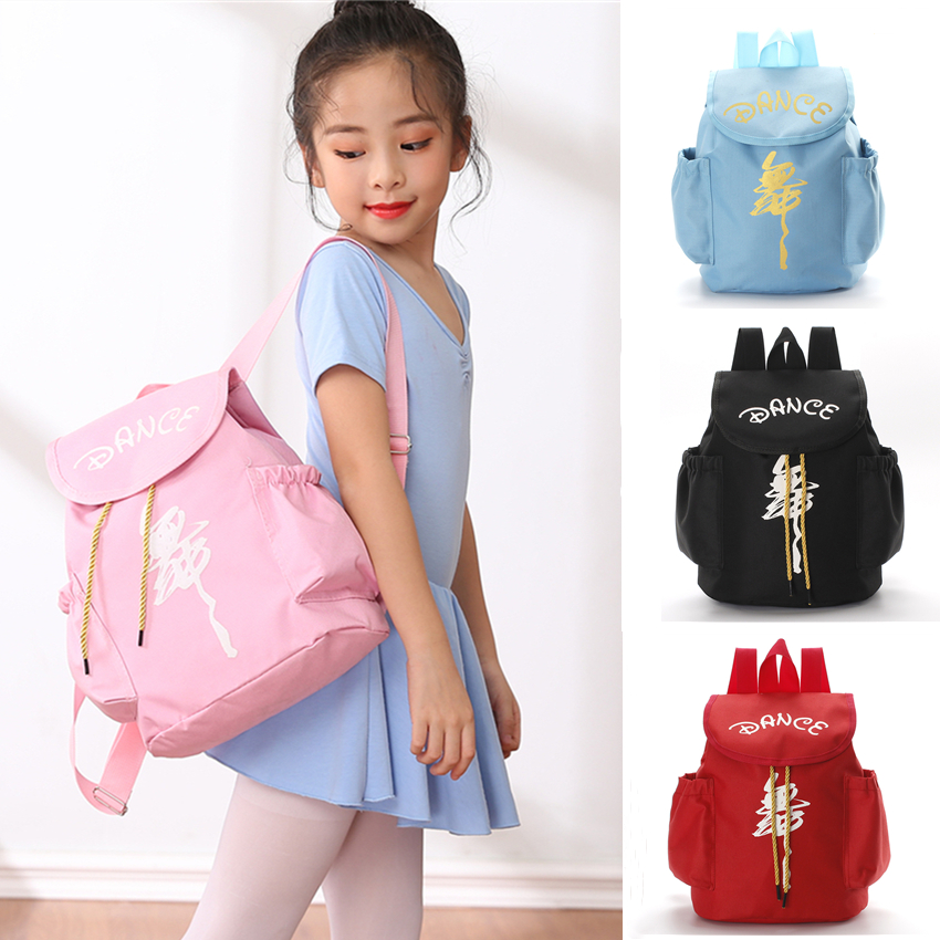 Ballet Dance Bag Girls Golden Print Pink Waterproof Shoulder Bags Kids Ballerina School Backpacks Cavans Rucksack