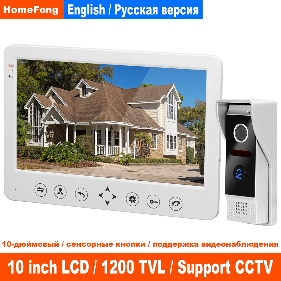 HomeFong 10 Inch Video Intercom For Home Video Door Phone Touch Key Operation Panel HD Indoor Monitor Door Intercom Doorbell Kit