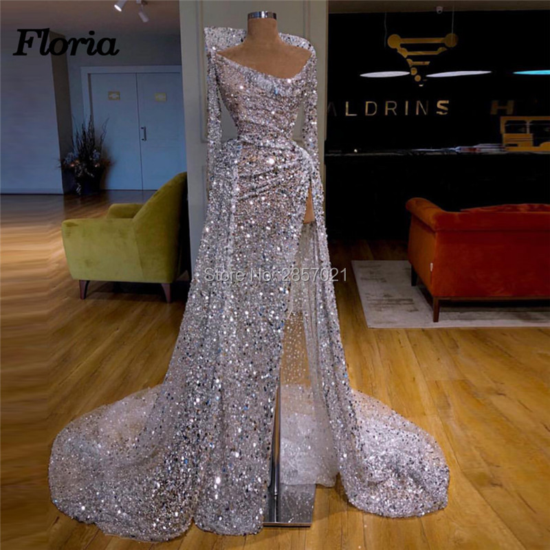 Islamic Dubai Sexy   Evening     Dress   Shiny High Split Prom   Dresses   Robe De Soiree Turkish Middle East Party   Dress   Abendkleider 2019