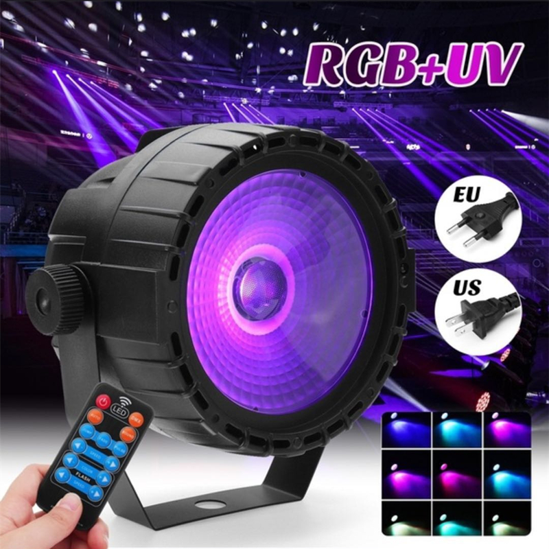 30W RGB UV COB LED Stage Light Wireless Remote Control LED Wash Wall Stage Lighting Lamp Par Light DJ DMX Lights For Party Disco