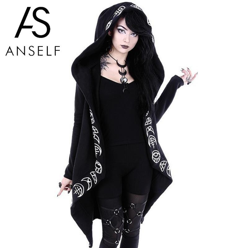 Anself Women Gothic Chic Hooded Sweatshirt Plus Size Cotton Loose Moon Plain Print Long Coat Punk Hoodie Irregular Hoodie Top(China)