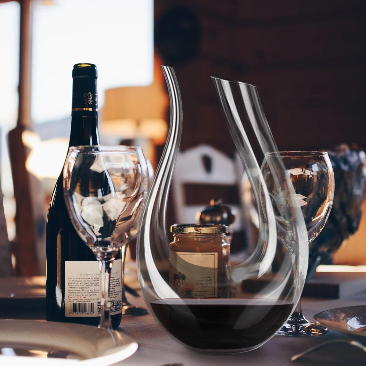 YKPUII 1500 ml gran jarra de cristal hecho a mano rojo vino Brandy champán gafas jarra de botella jarra vertedor aireador de la familia Bar