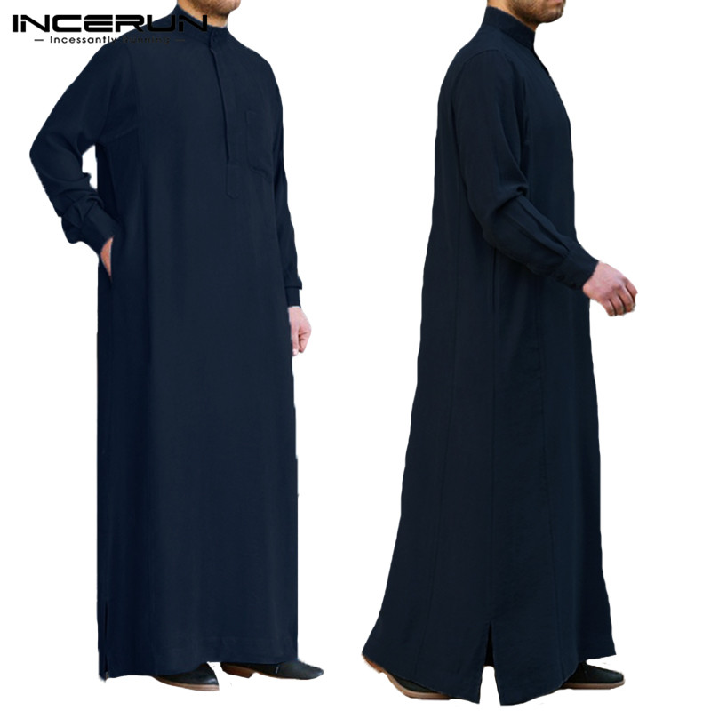 INCERUN Muslim Islamic Arab Kaftan Men Vintage Long Sleeve Men Thobe Robe Loose Dubai Saudi Arab Kaftan Men Clothing 2019 S-5XL