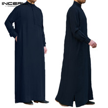 INCERUN Muslim Islamic Arab Kaftan Men Vintage Long Sleeve Thobe Robe Loose Dubai Saudi Clothing 2019 S-5XL