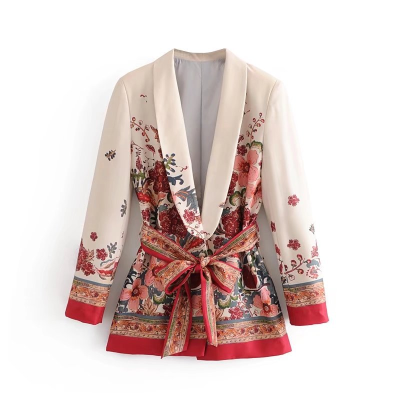 Vintage Print Female Suit Jacket With Belt Wide Leg Pant Suit Set Harajuku Women Coat 2020 Spring Elegant Outwear Lady Blazer
