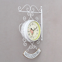 Cockerel Bell Outdoor double side Clock Garden Wall Outside Bracket Station