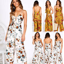 23cc910df191 2019 New Fashion Women Floral Jumpsuit Sexy White Yellow Clubwear V Neck  Playsuit Bodycon Ladies Romper Trousers