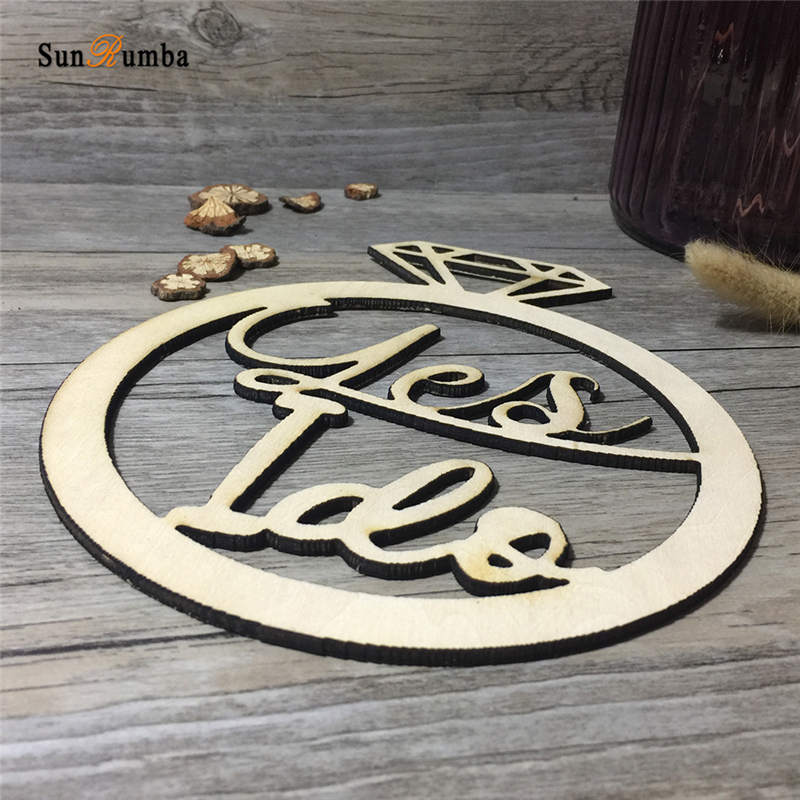 Yes I Do Wood Wedding Sign Vintage Wedding Decoration Photo Booth Props Rustic Engagement Wooden Hanging Signs Photobooth Props in Party DIY Decorations from Home Garden