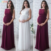 New& Beautiful Maternity Women Evening Dress Pleated Maxi Pregnancy Baby Shower Wedding Gown