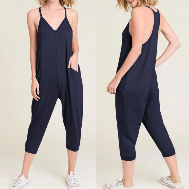 Celmia 2019 Summer Harajuku Women Sexy Jumpsuits Straps Casual Loose Plus  Size Overalls Sleeveless Playsuits Beach 8b41a4ca983b