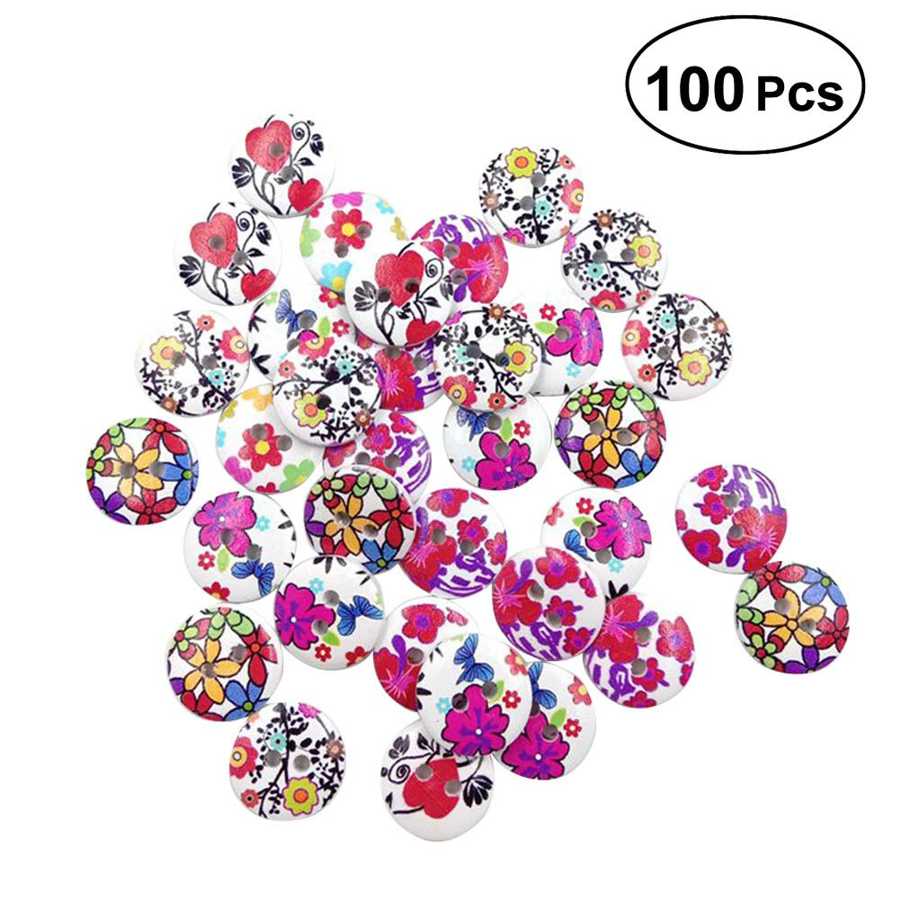 50pcs Wood Buttons Cartoon Lovely Environmental Protection Flower And Grass Patterns DIY Wooden Buttons Press Studs Snaps button