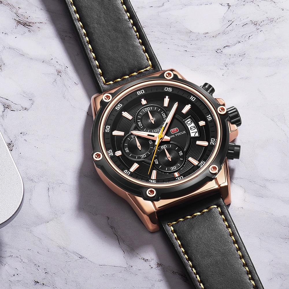 MINI FOCUS 2019 New Fashion Quatz Mens Watches Top Brand Luxury Leather Strap Chronograph Calendar Sports Wristwatch Waterproof strap