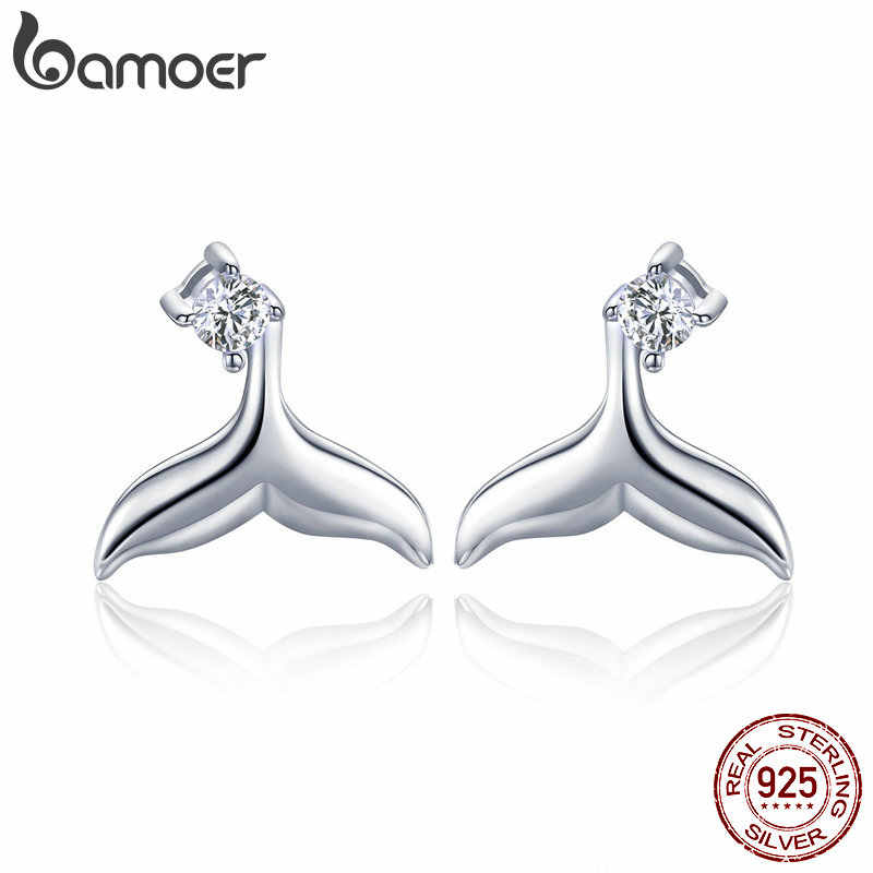 BAMOER Hot Sale 100% 925 Sterling Silver Mermaid Fishtail Small Stud Earrings for Women Sterling Silver Jewelry Gift BSE059
