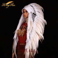 Indian feather feathered costume Indian chief feather war bonnet halloween costume