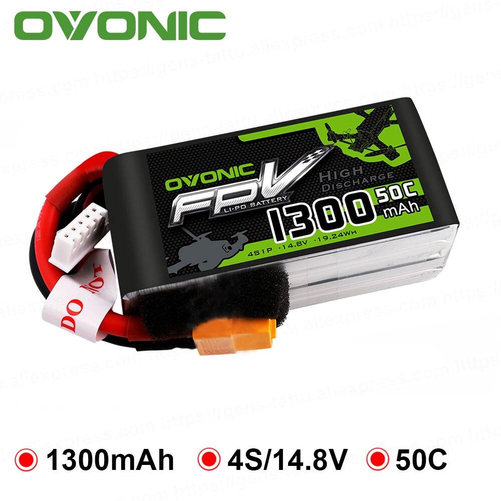 OVONIC 50C Max 100C 4S Lipo 14.8 V Bateria de 1300 mAh com XT60 Plug para 240 Quadro FPV RC Zangão heli Barco Quad Carro