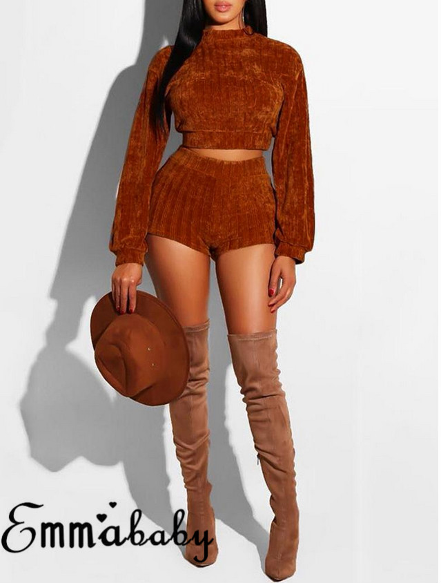 2019 Newest Sexy Fashion Women Long Sleeve Set Two Piece Outfits Casual Clothes