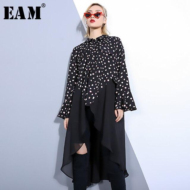 [EAM] 2019 New Spring Summer Lapel Long Sleeve Black Dot Printed Hem Chiffon Irregular Big Size Shirt Women Blouse Fashion JO451