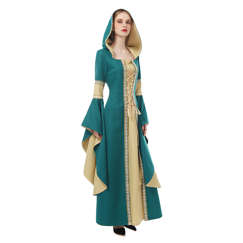 Women Renaissance Medieval Cosplay Robe Dress Princess Queen Costume Velvet Court Maid Halloween Costume Vintage Hooded Gown