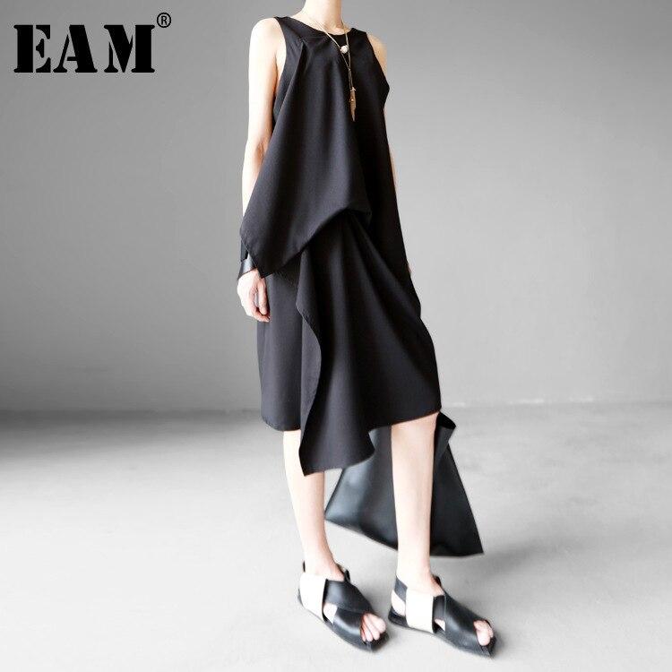 [EAM] 2020 New Round Neck Sleeveless Black Irregular Hem Brief Loose Irregular Hem Dress Spring  Summer Women Fashion Tide JG222