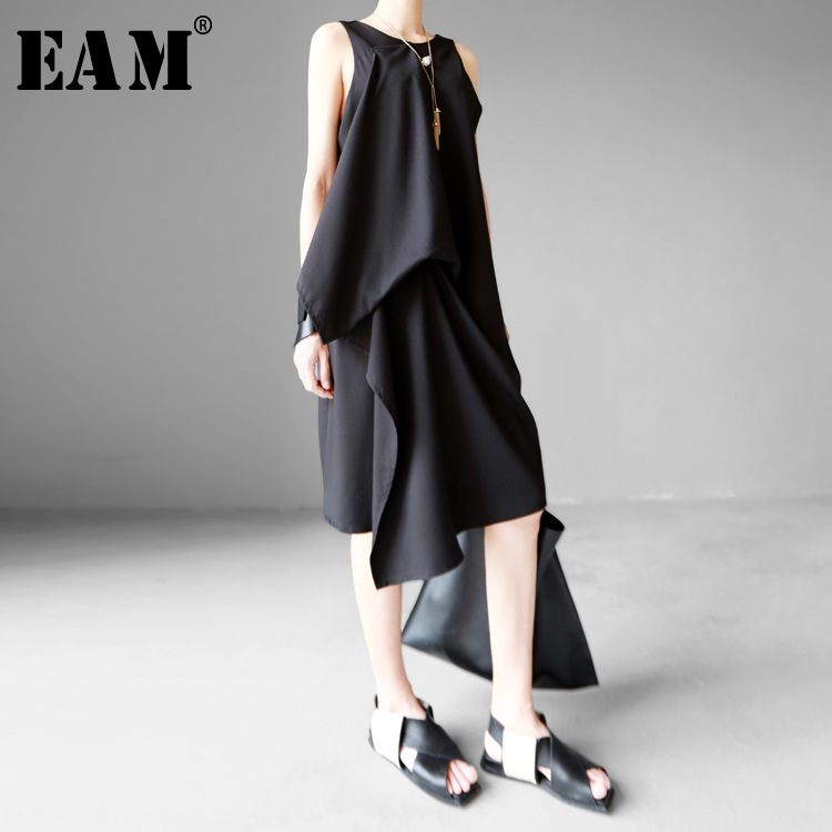 [EAM] 2019 New Round Neck Sleeveless Black Irregular Hem Brief Loose Dress Spring  Summer Women Fashion Tide JG222
