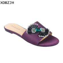 Купить с кэшбэком Luxury Paris Women Summer Shoes Flat Sandals 2019 Rhinestone Ladies Leather Purple Sandals Slippers Shoes Woman Big Size US11