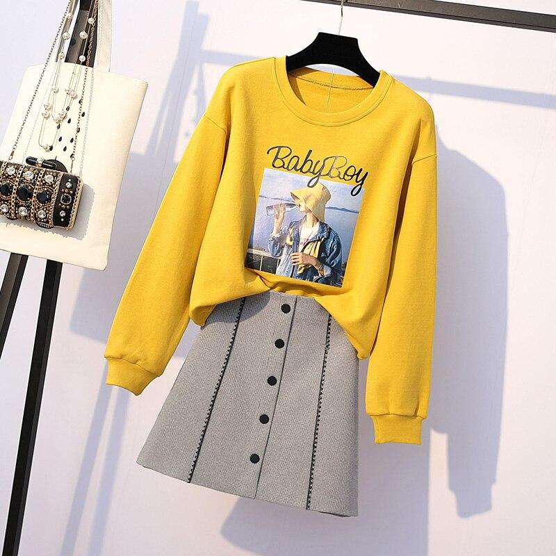 Col rond polaire hoodies sweatshit et boutons jupe deux pièces vêtements set femmes outfit robes imprimer haut costume décontracté XL-4XL