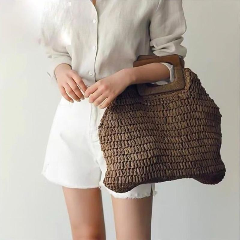 5708512a9379 Винтажные вместительные сумки женские тканые сумки на плечо сумки с ручкой  сверху большие вместительные женские сумки