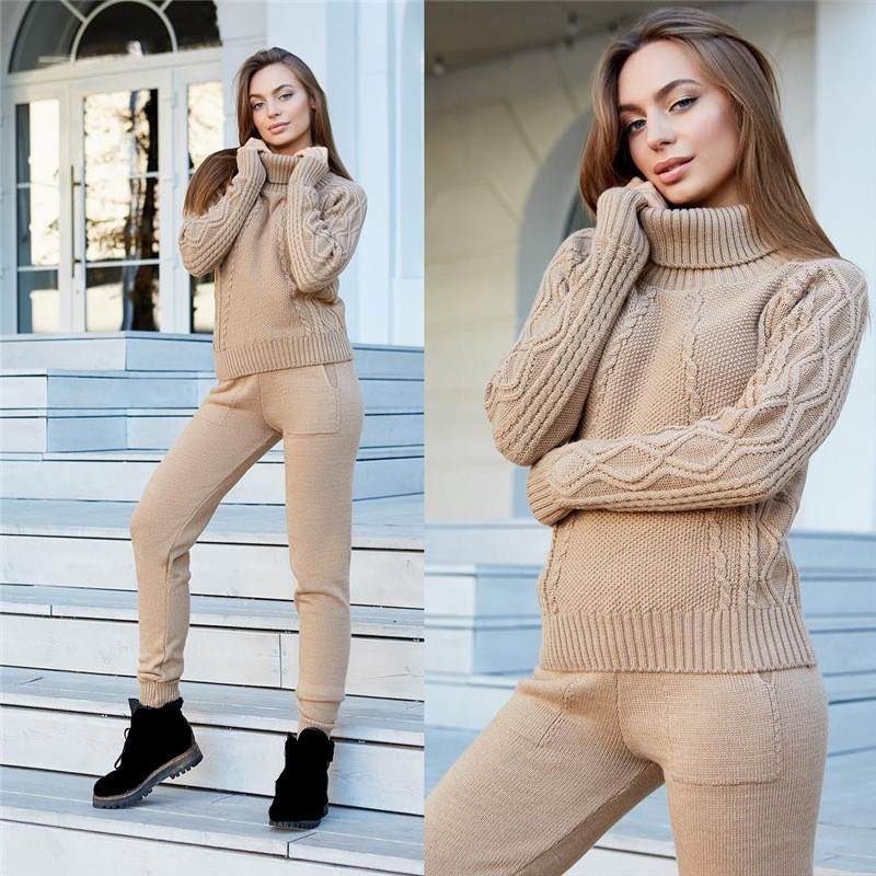 Winter Woolen Cashmere Knitted Warm Suit Turtleneck Sweater   Cashmere Pants Two-piece Set Knit Suit Loose Tracksuit